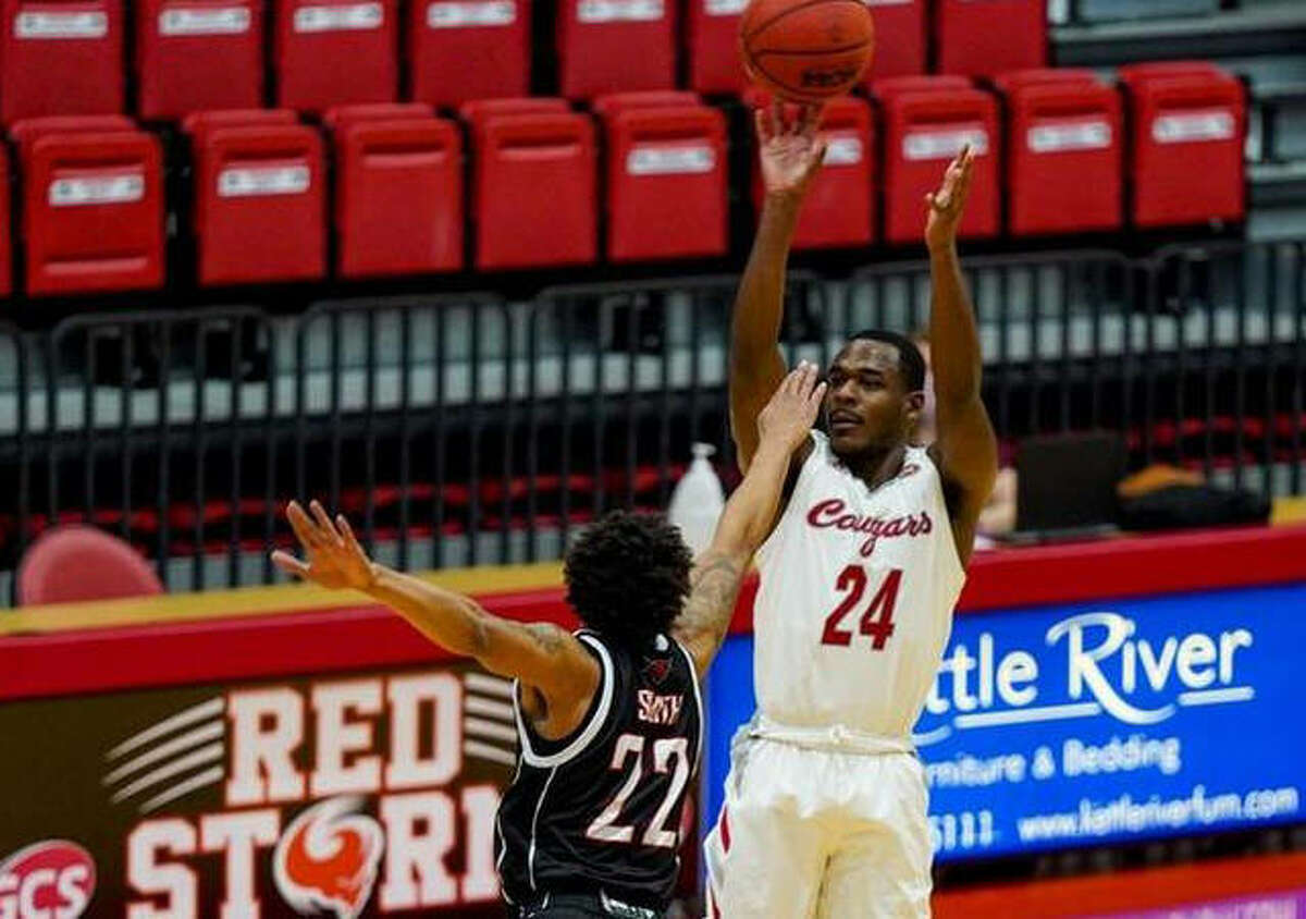 SIUE guard Cam Williams puts up a 3-point attempt during a game this season inside First Community Arena in Edwardsville.