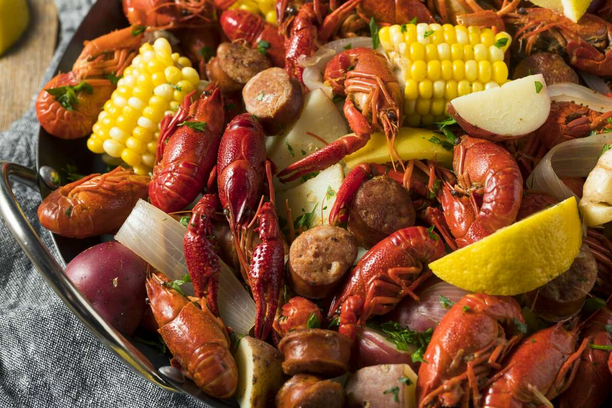 Homemade Southern Crawfish Boil with Potatoes Sausage and Corn.
