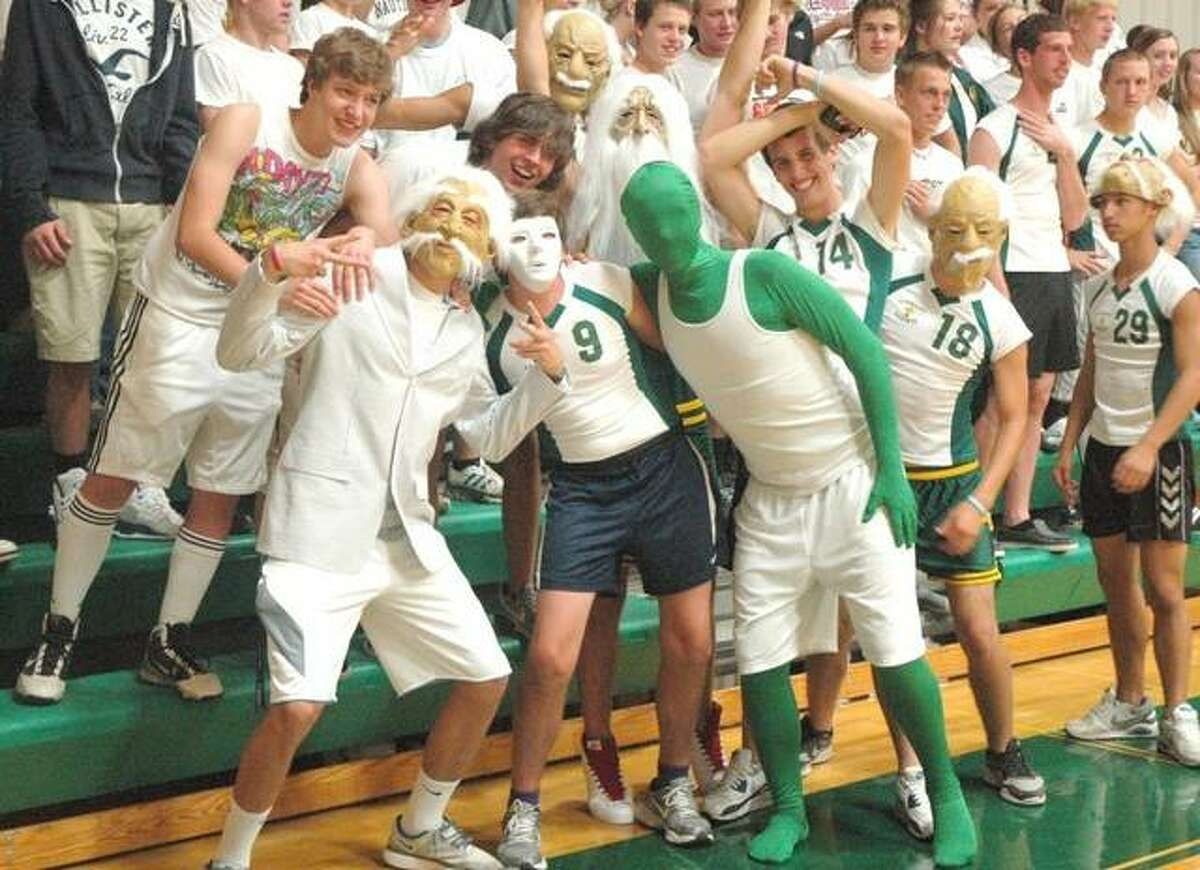 In this file photo, Metro-East Lutheran's student section Knight Nation in action during a basketball game inside Thomas Hooks Gymnasium.