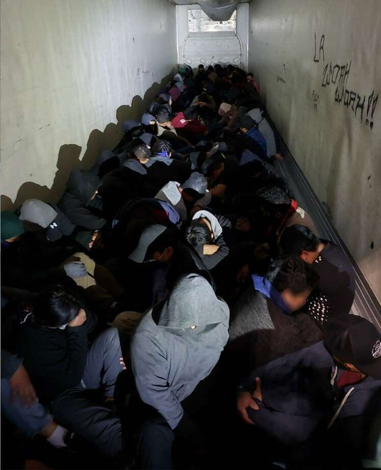 U.S. Border Patrol agents found 98 people in the back of a trailer, including several minors. All were determined to be immigrants who had crossed the border illegally. Photo: Courtesy Photo /U.S. Border Patrol