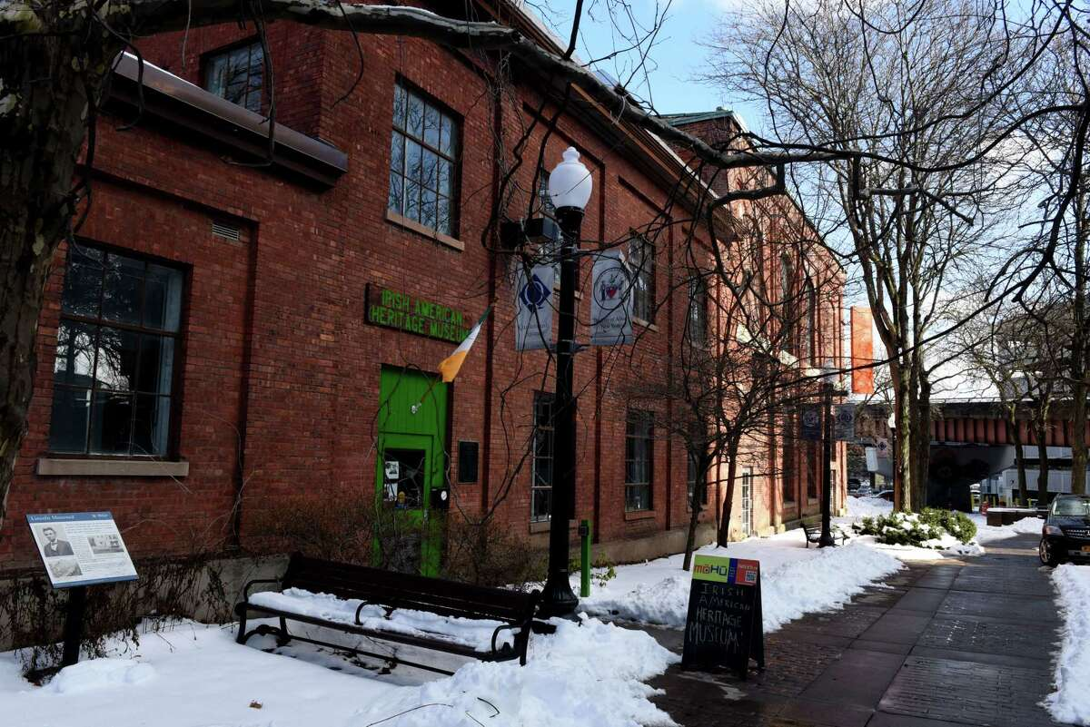 Exterior of the Irish American Heritage Museum at Quackenbush Square on Friday, Feb. 5, 2021, in Albany, N.Y. The history center is currently hosting a new featured exhibit on Frederick Douglass in Ireland. (Will Waldron/Times Union)