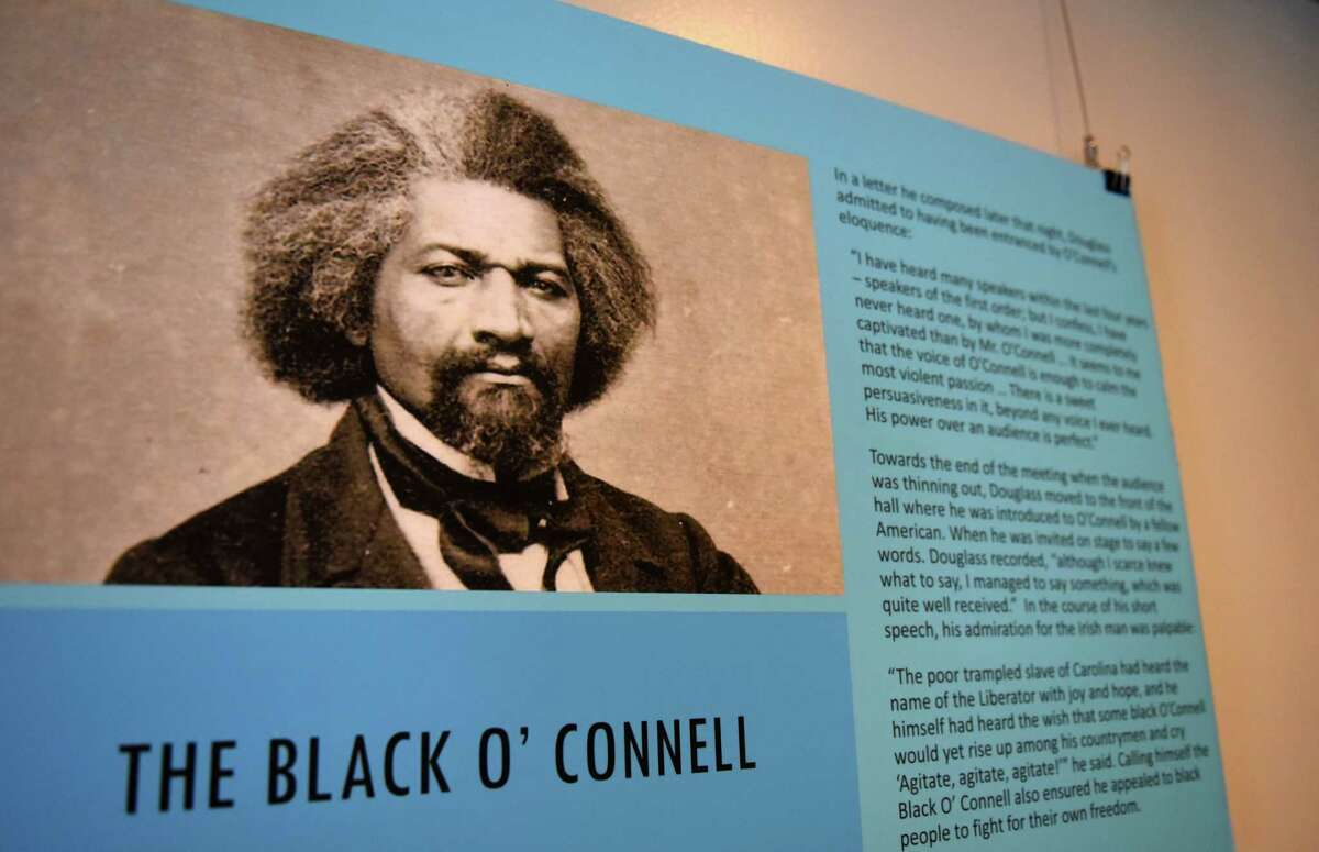 A new exhibit at the Irish American Heritage Museum features Frederick Douglass in Ireland on Friday, Feb. 5, 2021, at the Irish American Heritage Museum in Albany, N.Y. Douglas was inspired by Daniel O'Connell during a visit to Ireland in 1845. (Will Waldron/Times Union)