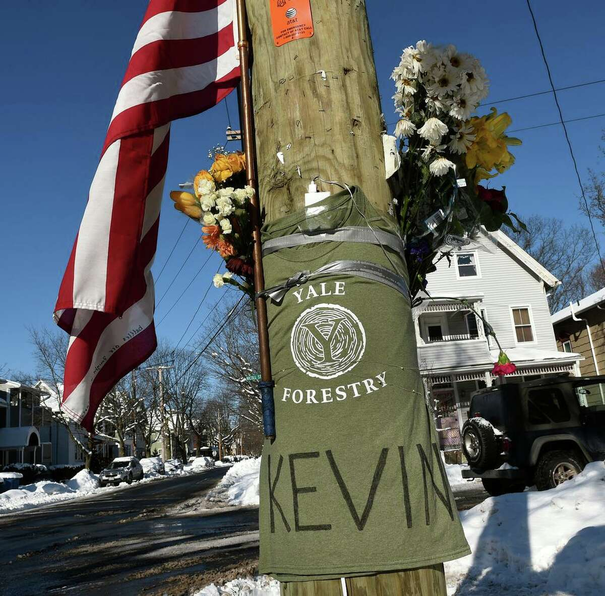 A memorial for Yale School of the Environment student Kevin Jiang near the scene of his shooting at the corner of Nicoll and Lawrence Street in New Haven on Monday.