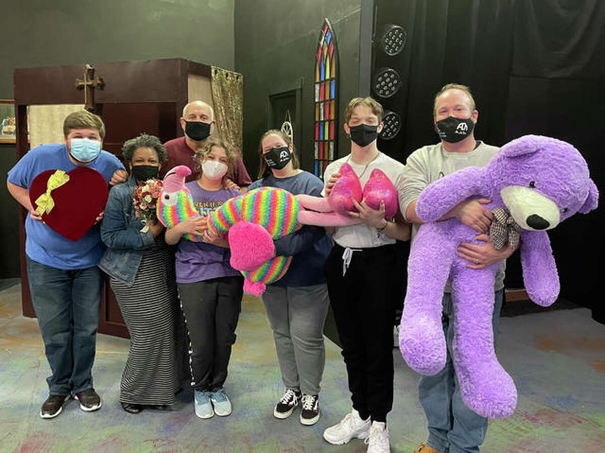 """Sawyer Burton, Margery Handy, Kevin Frakes, Corrine Jones, Olivia Buck, Devin Sadler and Shea Maples are all pulling """"double duty,"""" performing in ALT 's production of """"Sister Act"""" and at the Feb. 14 Seasons of Love Alton Little Theater. fundraiser."""