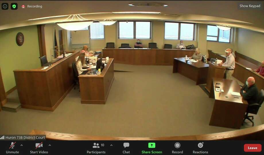The Huron County commissioners meet over Zoom during this week's meeting, in which they called for the end of state COVID restrictions. (Robert Creenan/Huron Daily Tribune)