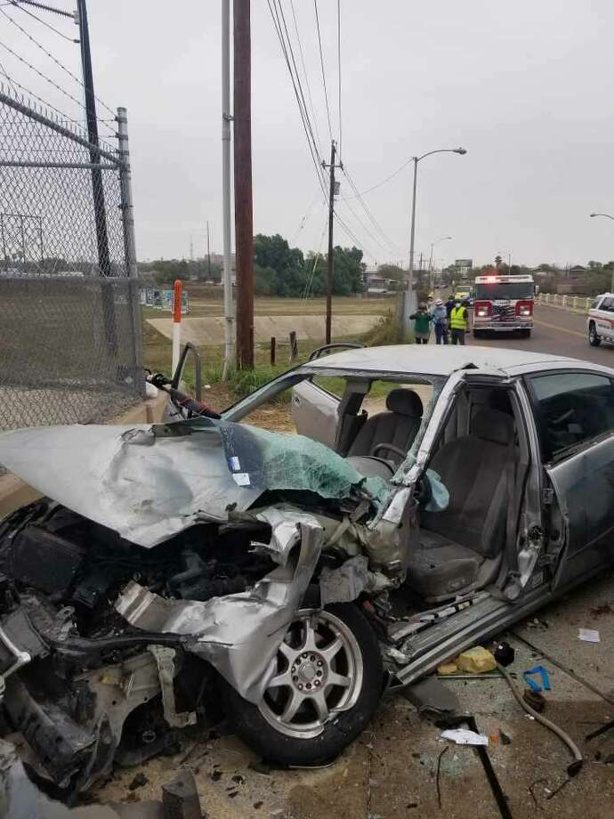 An elderly woman was taken to Laredo Medical Center in serious condition following a two-vehicle crash reported on Tuesday morning in the intersection of San Enrique Avenue and Washington Street. A 20-year-old woman was also taken to LMC but in stable condition. Photo: Courtesy Photo /Laredo Fire Department
