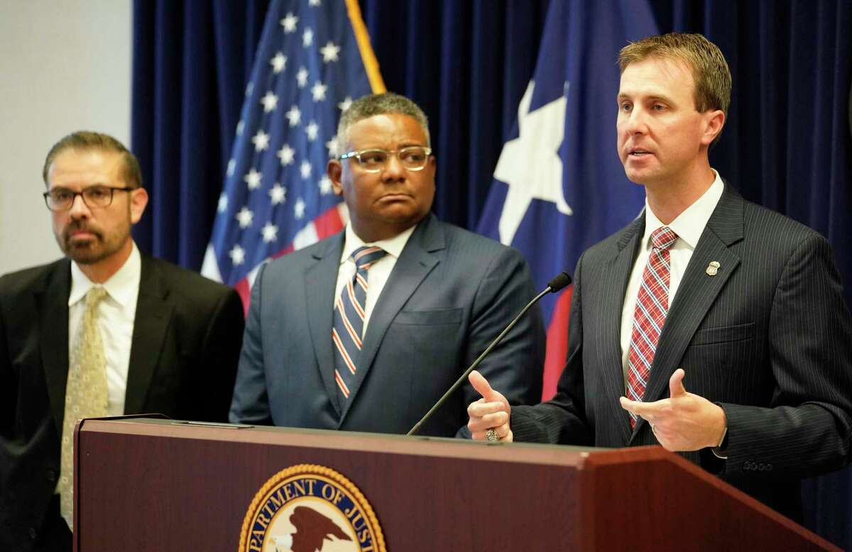 Neil Sanchez, Special Agent in Charge Department of Education Office of Inspector General, left, Perrye Turner, Special Agent in Charge FBI, and Ryan K. Patrick, U.S. Attorney Southern District of Texas, right, are shown during a press conference to announce a significant development in the case involving the Varnett Charter School held at the United States Attorney's Office, 1000 Louisiana, Tuesday, April 16, 2019, in Houston.