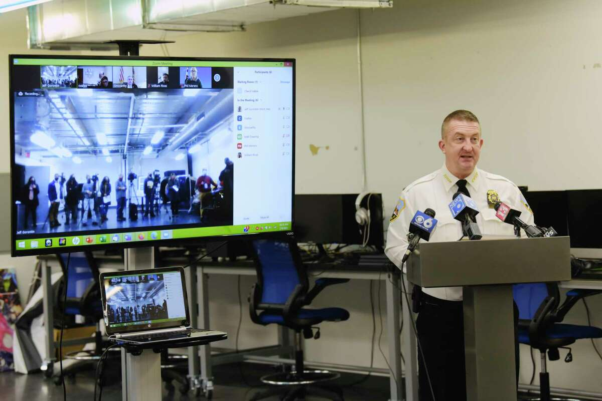 Schenectady Police Chief Eric Clifford speaks at a press conference held to discuss a partnership to develop a virtual reality educational tool to train officers and other first responders in tactics aimed at de-escalating situations that may be encountered in the real world on Tuesday, Feb. 9, 2021, in Schenectady, N.Y. Catapult Games is designing the virtual reality training tool. (Paul Buckowski/Times Union)
