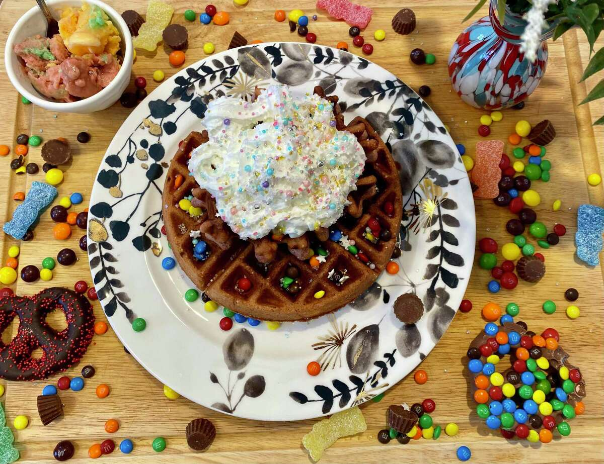 Add a little color to your Galentine's Day brunch with these colorful waffles.