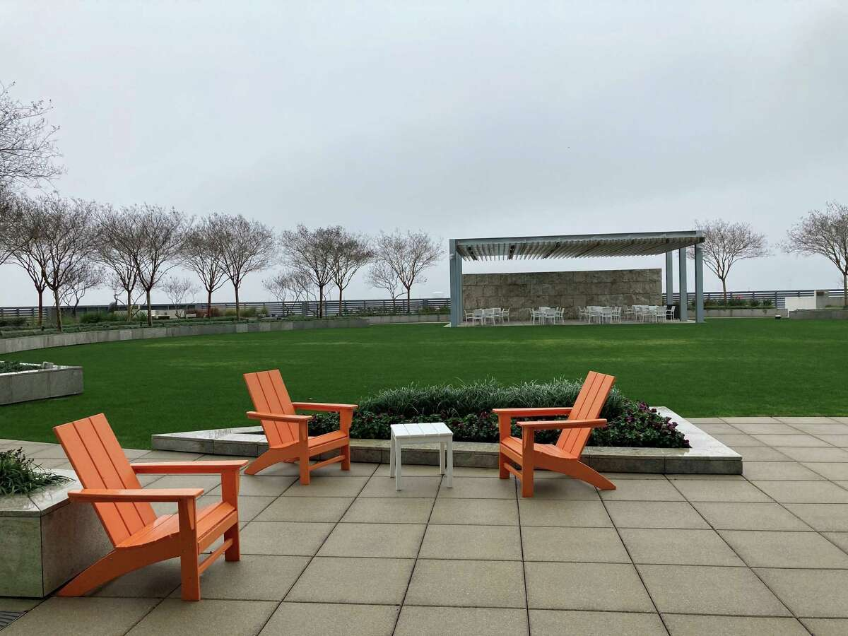 The rooftop terrace at 9950 Woodloch Forest Tower spans 33,000 square feet. The Howard Hughes Corp. is marketing the building to tenants.