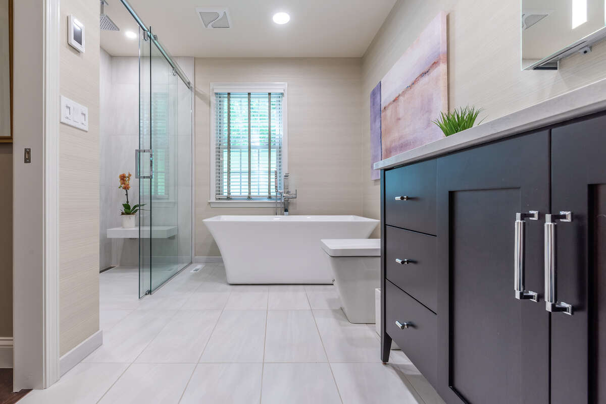 Bathroom renovations done by Bennett Construction.