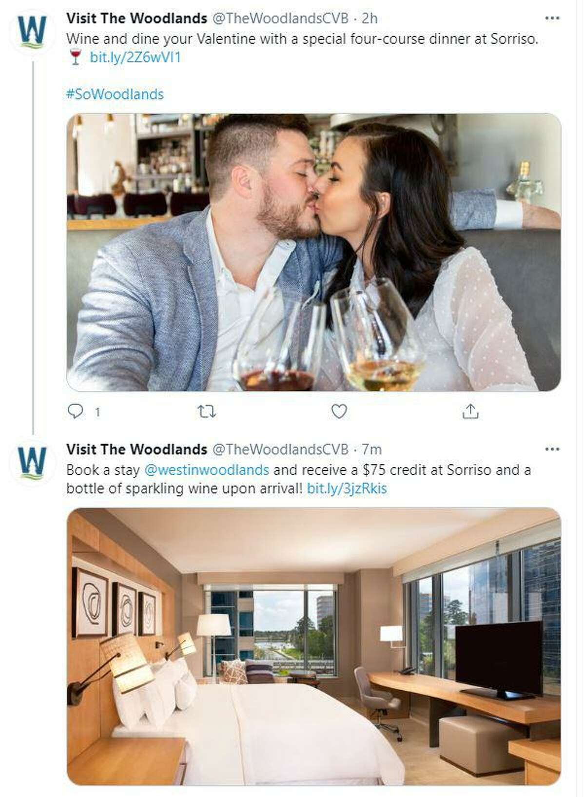 The Woodlands Township's convention and tourism arm, Visit The Woodlands, is now aiming marketing efforts at tourists who are driving to the community rather than flying. The new marketing efforts include more social media posts such as this pairing a local restaurant and hotel for Valentine's Day.