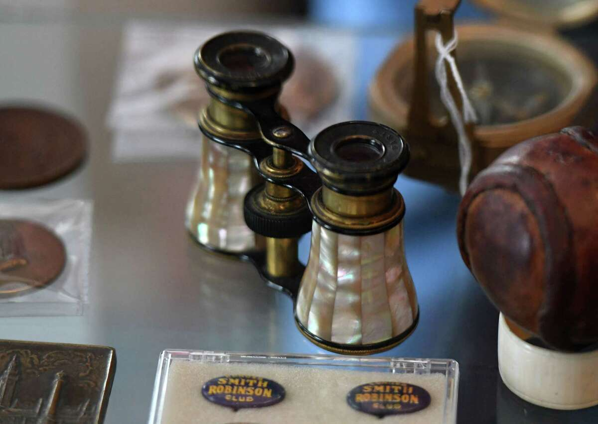 Vintage opera glasses are displayed at Dennis Holzman Antiques on Tuesday, Feb. 9, 2021, in Cohoes, N.Y. Dennis Holzman has been selling antiques for use in HBO's 'The Gilded Age series.' (Will Waldron/Times Union)