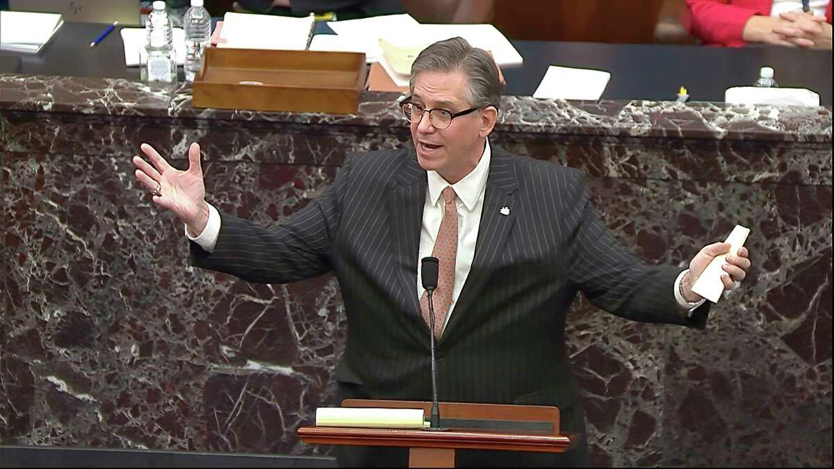 In this image from video, Bruce Castor, an attorney for former President Donald Trump, speaks during the second impeachment trial of Trump in the Senate at the U.S. Capitol in Washington, Tuesday, Feb. 9, 2021.