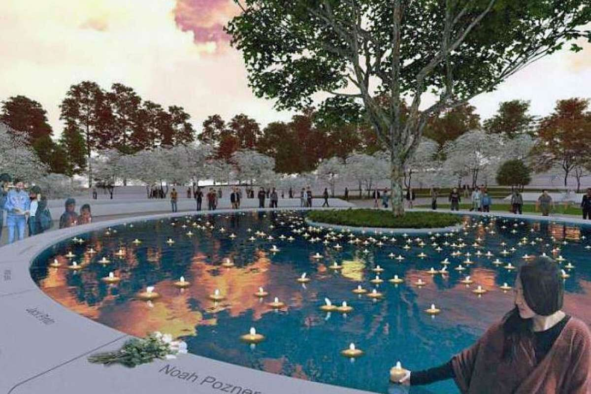 A rendering of the 'sacred sycamore' - the focal element of the Sandy Hook Memorial, designed by San Francisco-based SWA.