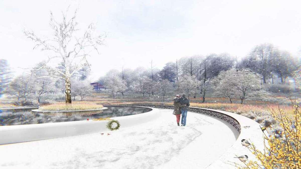 Artist's rendering of the Sandy Hook Memorial in mid winter.