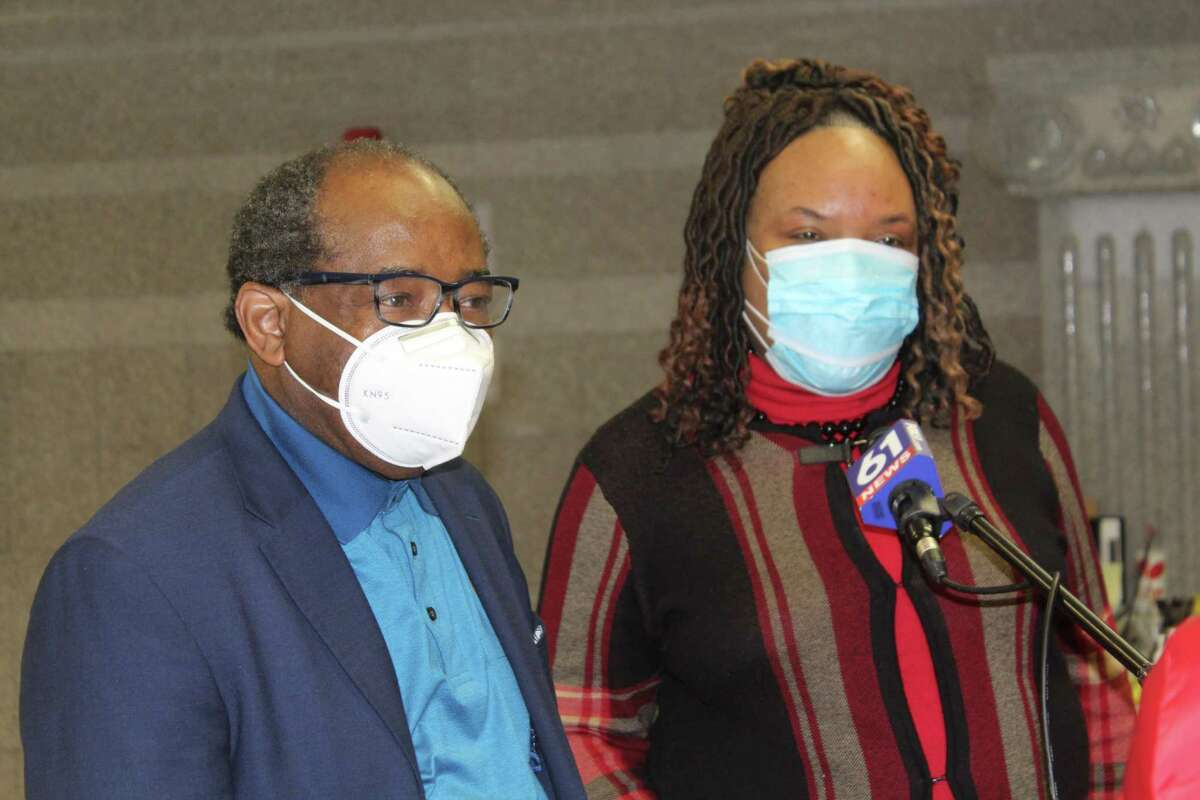 From left are the Revs. Moses Harville of Cross Street AME Zion Church and Robyn Anderson, president of the Middletown Ministerial Health Fellowship. They hosted a COVID vaccine clinic Tuesday at the church.