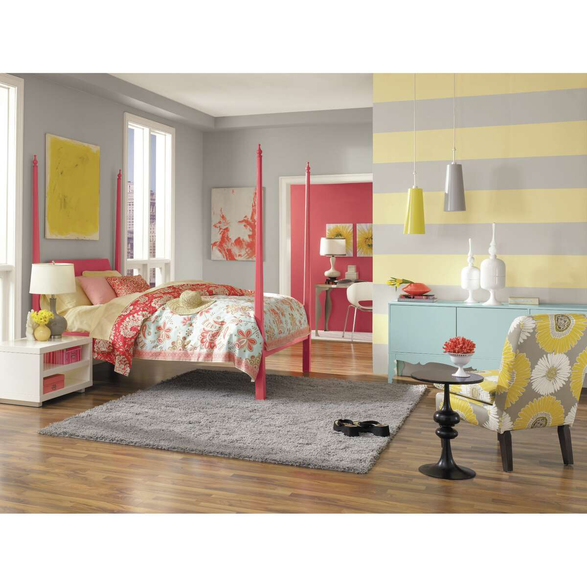"""""""Illuminating"""" (yellow) and """"Ultimately Gray""""are Pantone's 2021 Colors of the Year. Paint company Sherwin-Williams offers two paint colors that are good matches: """"Moonraker"""" (yellow) and """"Pearl Gray."""""""