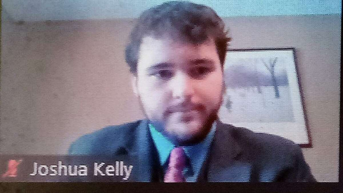 Joshua Kelly was hired Tuesday as Winsted's new town manager. He is shown Tuesday on Zoom with the Board of Selectmen and other town officials.