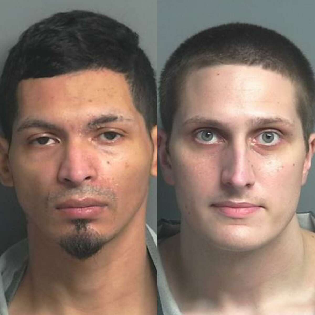 Richard Anthony Escobar, 32, of Pasadena, left, and Thomas Michael Mock III, 25, of Houston, right, are each charged with two counts of burglary of a vehicle, a Class A misdemeanor.