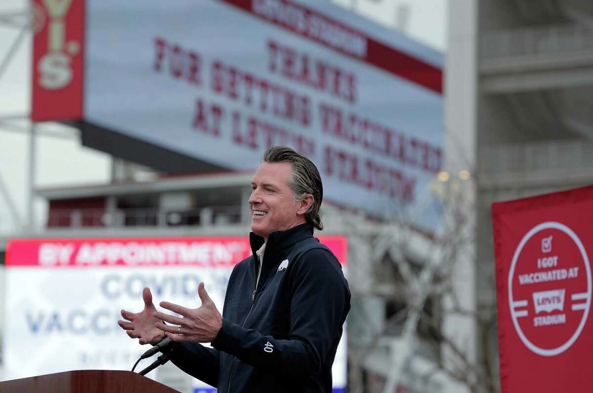 California Gov. Gavin Newsom speaks at Levi's Stadium as a mass-vaccination site opened on Tuesday.