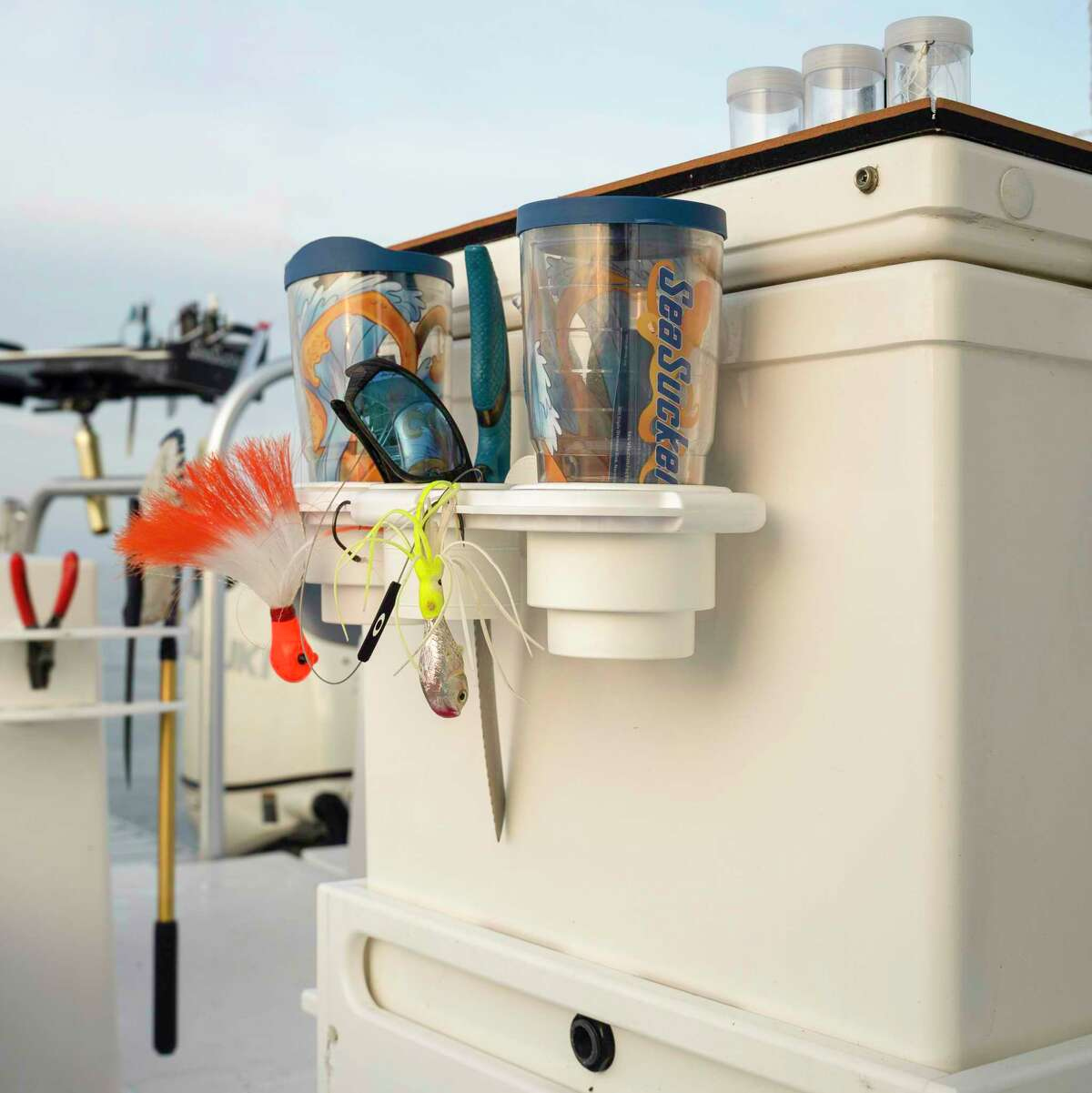 The new SeaSucker cup, tool and lure accessory holder is handy and can be put just about anywhere on a boat.