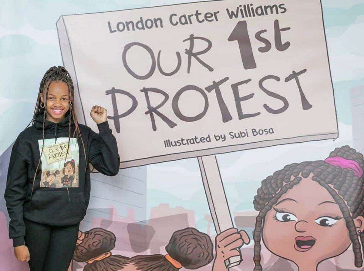 After two years of construction, the Mattatuck Museum is reopening to the public March 1 with four new exhibitions, an artist installation in the Plaza, reinstallation of the permanent collection, and a re-interpretation of the Orton P. Camp Jr. History Exhibit. Above, 11-year-old Author London Carter Williams at the reception for her book, Our 1st Protest.