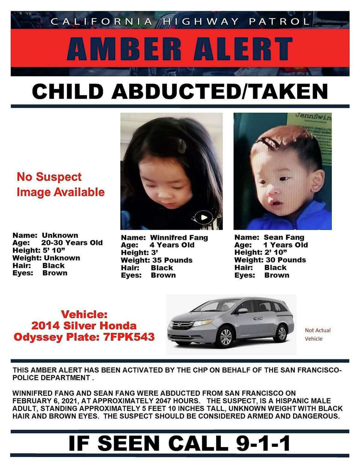 California Highway Patrol issued an Amber Alert for two children, Winnifred Fang, age 4 and Sean Fang, age 1, who were abducted in a San Francisco carjacking Saturday night.