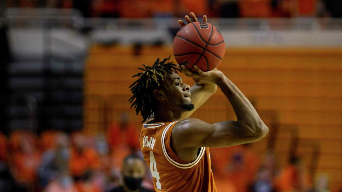 Freshman Greg Brown sank a season-best four 3-pointers in five attempts in the Longhorns' victory at Kansas State on Tuesday night.