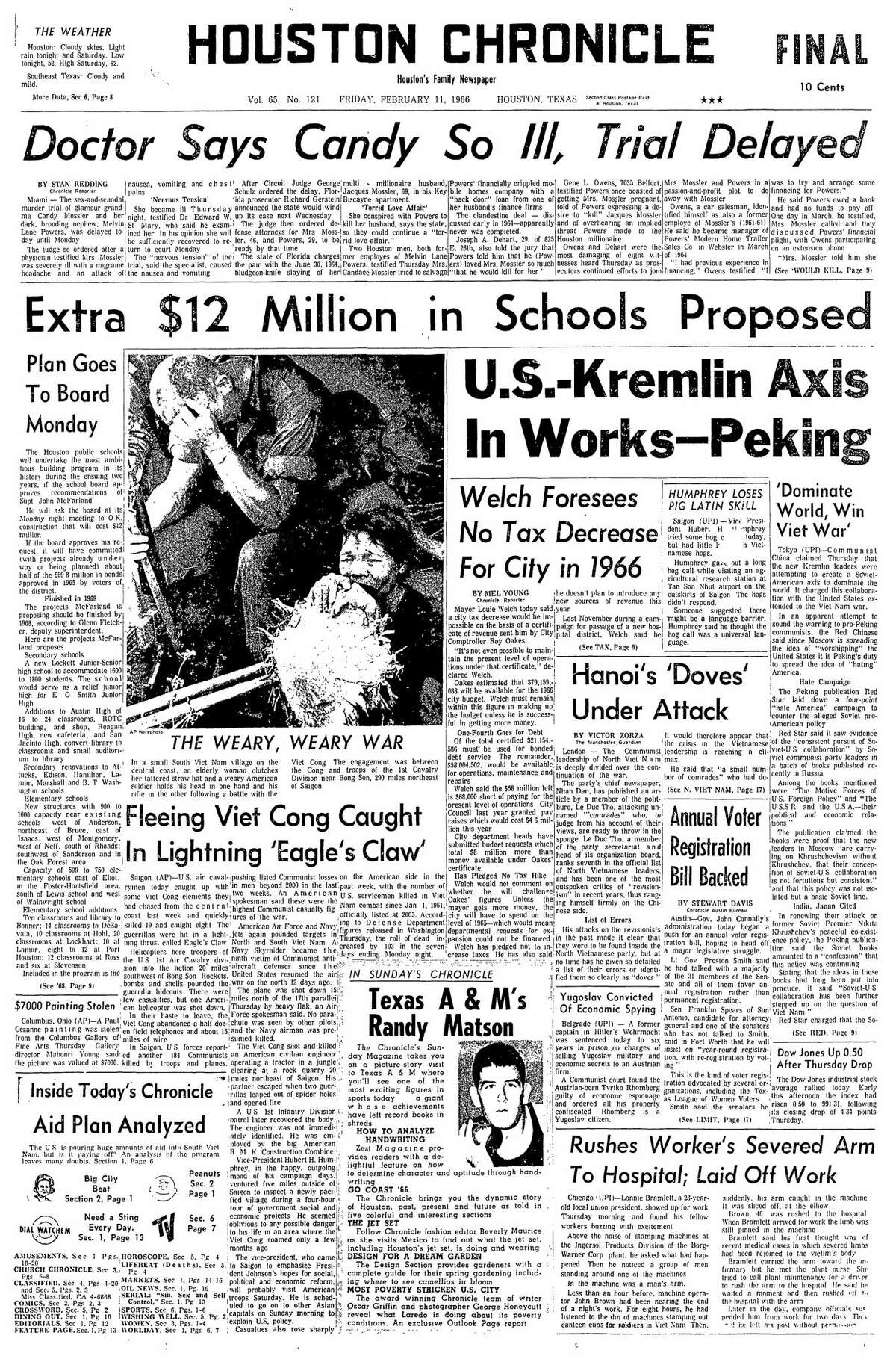 Houston Chronicle front page from Feb. 11, 1966.