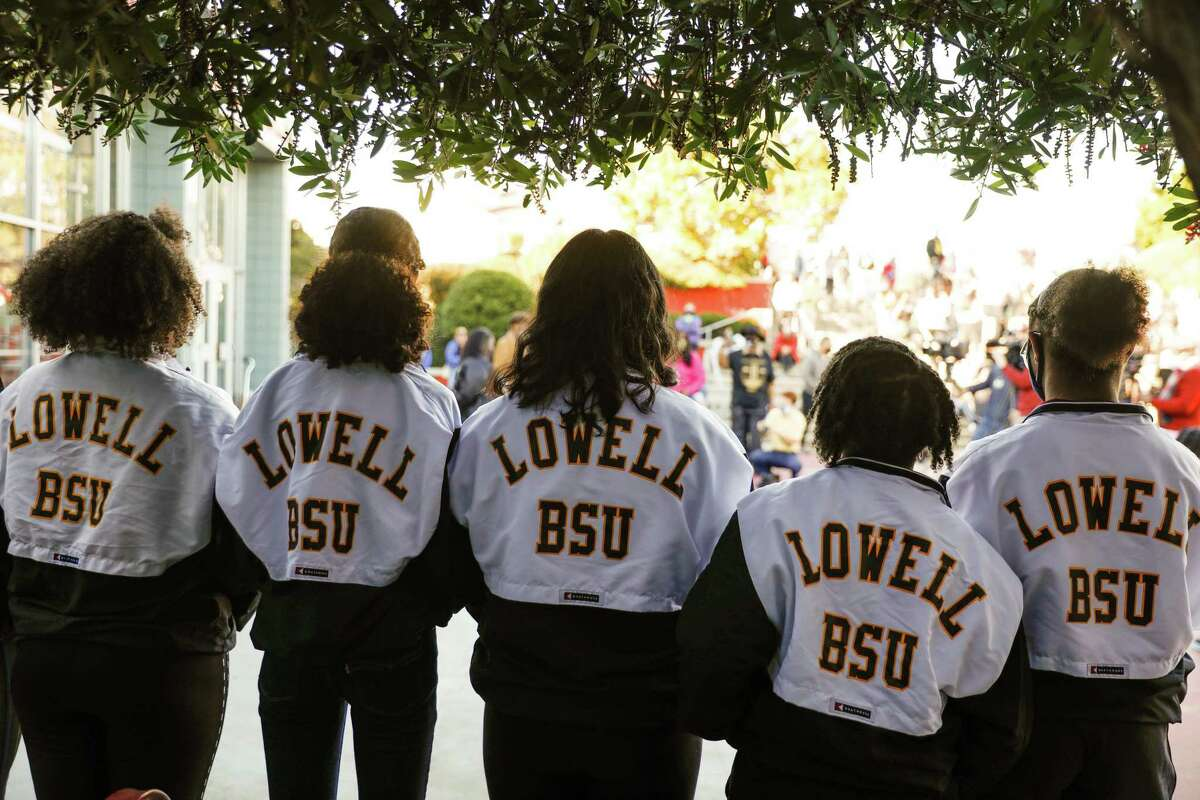 The Lowell Black Student Union hold a press conference to speak out against the recent racist attacks on the Lowell community on Friday, Feb. 5, 2021 in San Francisco, California.