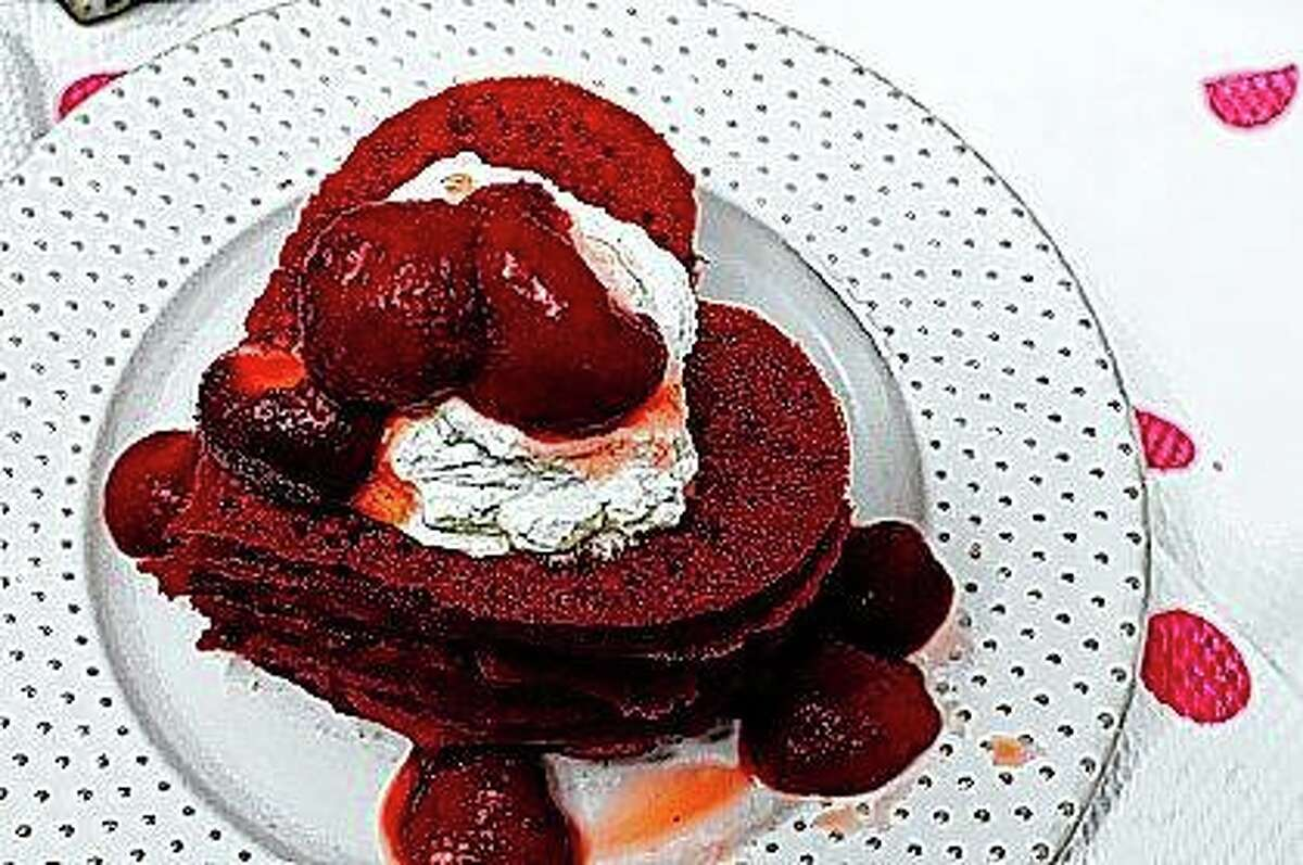 Valentine's Day Pink Heart Pancakes are featured in the cookbook