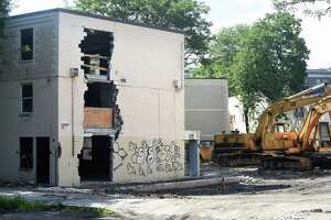 Demolition began at the Church Street South housing complex in New Haven on June 25, 2018.
