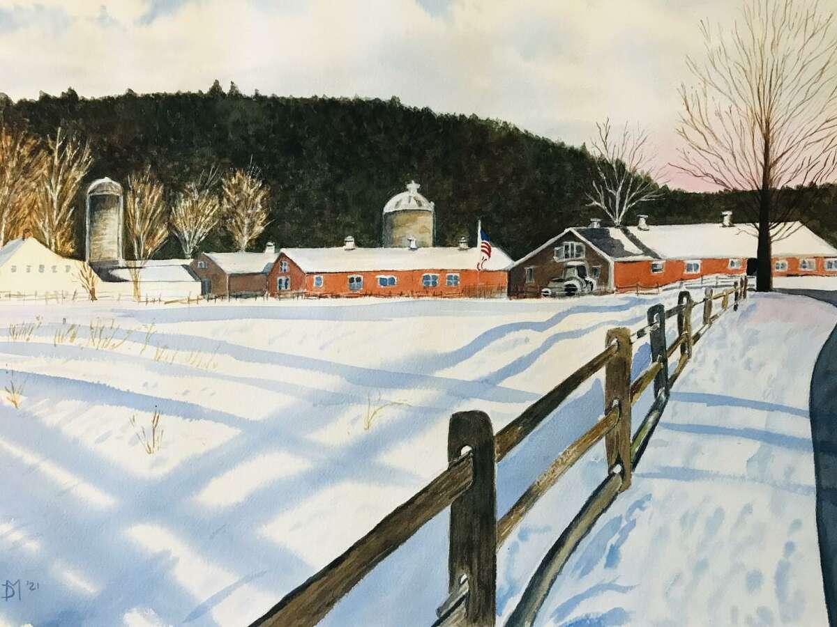Judds Bridge Farm, Roxbury. Watercolor on paper