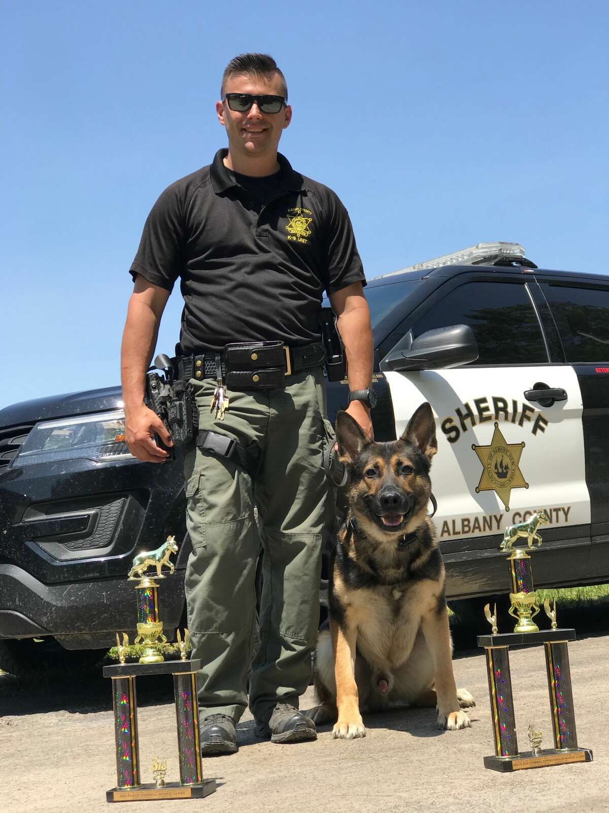 Albany County Sheriff Sgt. Joseph Iachetta, with his K9 Rice. Iachetta has worked at the Albany County Sheriff's Office for seven years, said Sheriff Craig Apple. He was severely injured in a crash in Colonie Feb. 8, 2021.