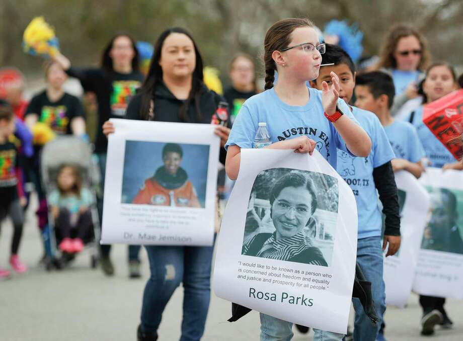 S.F. Austin Elementary students take part in the annual Leon Tolbert Annual Black History Month Parade, Saturday, Feb. 8, 2020, in Conroe. This year's parade is set for Saturday at noon. Photo: Jason Fochtman, Houston Chronicle / Staff Photographer / Houston Chronicle © 2020