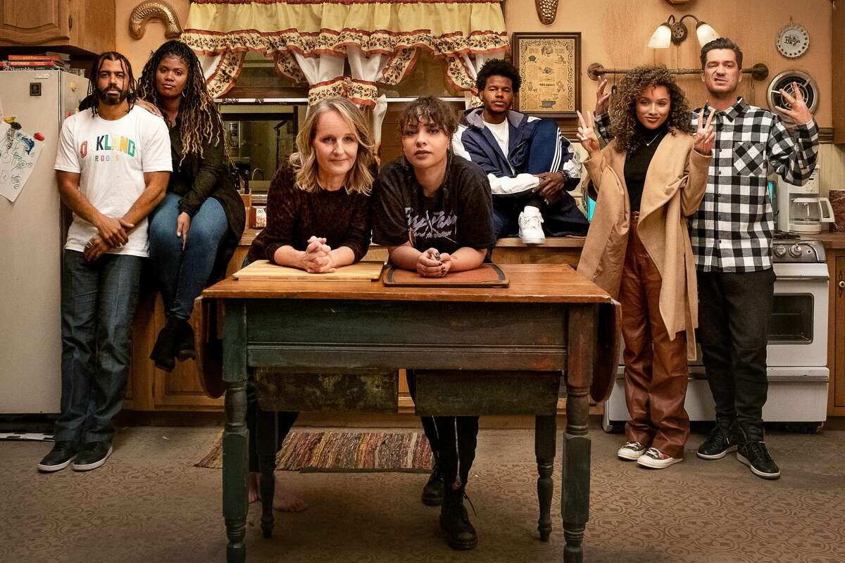 From left to right: Daveed Diggs, Candace Nicholas-Lippman (Janelle), Helen Hunt (Rainey), Jasmine Cephas Jones (Ashley), Benjamin Earl Turner (Earl), Jaylen Barron (Trish), Rafael Casal (Miles). Casal and Diggs also serve as co-creators and executive producers of the series.