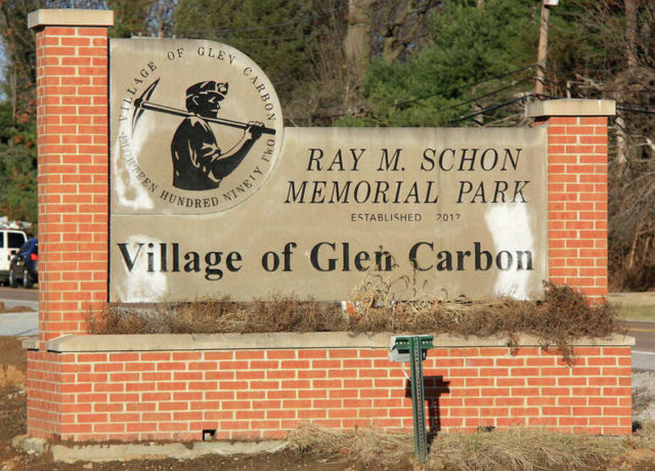 The village may spend part of its 2021 park enhancement program (PEP) grant funds on permanent lighting for the Schon Park monument sign on North Main Street. Photo: Hearst File Photo