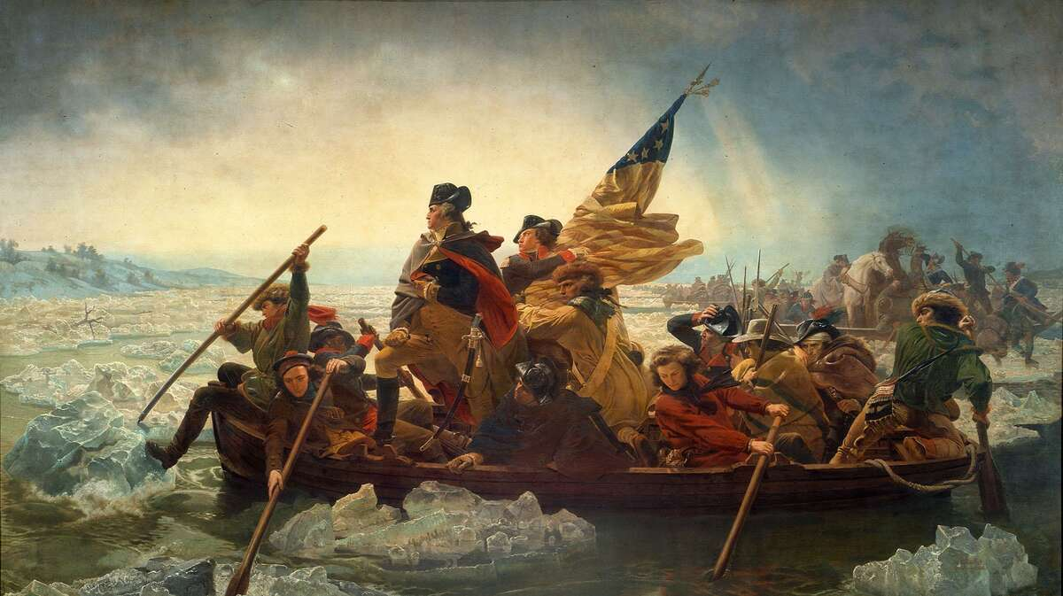 A reproduction of Emanuel Leutze's 1851 famous oil painting Washington Crossing the Delaware