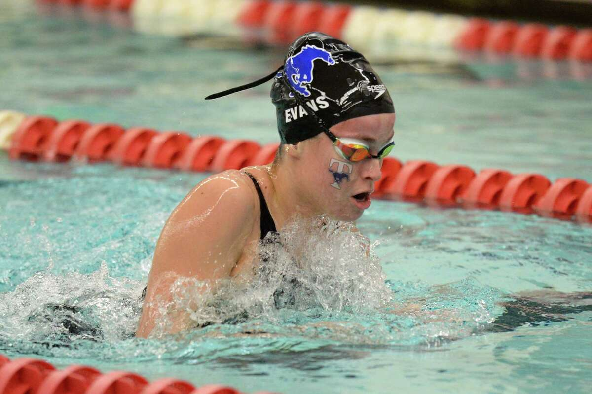 Amy Evans of Taylor competes in the girls 100 yard breaststroke during the District 19-6A Swimming and Diving Championships on January 18, 2020 at the Katy HS Natatorium, Katy, TX.