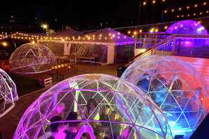 "Dockside Brewery, at 40 Bridgeport Ave. in Milford, has an ""igloo village"" with each structure boasting a different theme."