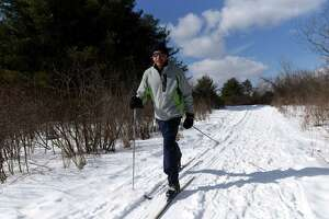 Vladimir Ablin of Bethlehem enjoys cross-country skiing on the trails at Five Rivers Environmental Education Center on Wednesday, Feb. 10, 2021, in New Scotland, N.Y. (Will Waldron/Times Union)