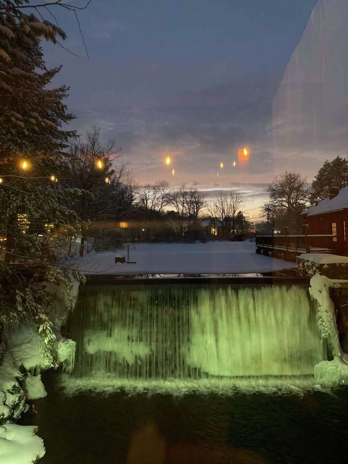 A view of Millwright's waterfall from the outdoor