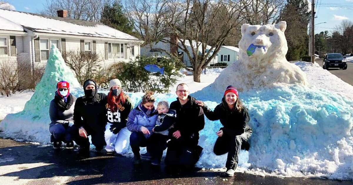 """Karen Terrio-Malave and her family, who live on Fowler Avenue in Middletown, created their annual snow sculpture over the weekend. Shown here is """"Mama Bear."""""""
