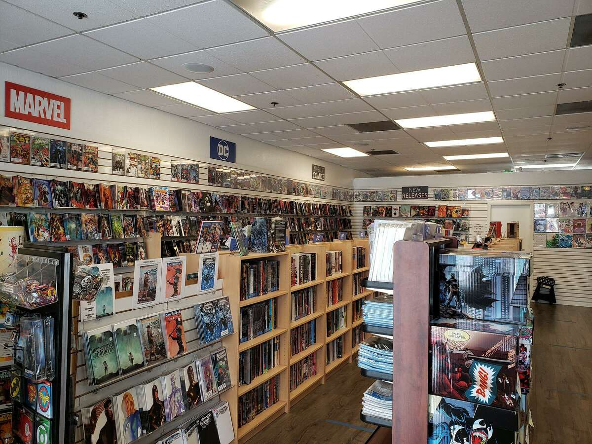 A photo of the inside of Comics Conspiracy in Sunnyvale, Calif., a comic-book store owned by Ryan Higgins of San Jose. Higgins went viral on Twitter after weighing in on the national debate over the federal minimum wage.