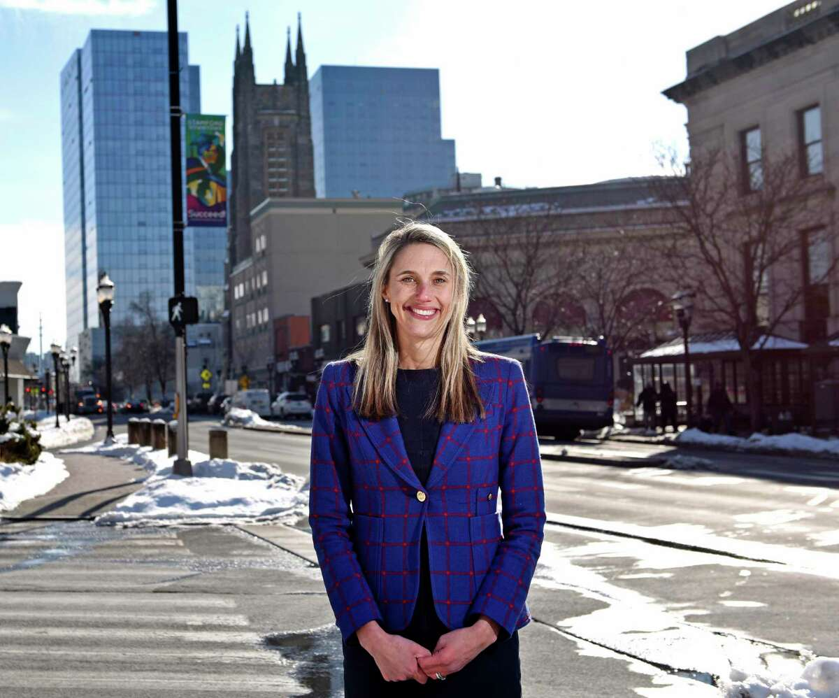 State Rep. Caroline Simmons, D-Stamford, poses in downtown Stamford, Conn. Wednesday, Feb. 10, 2021. Simmons was endorsed by the Democratic City Committee for mayor but incumbent Mayor David Martin has forced a primary election.