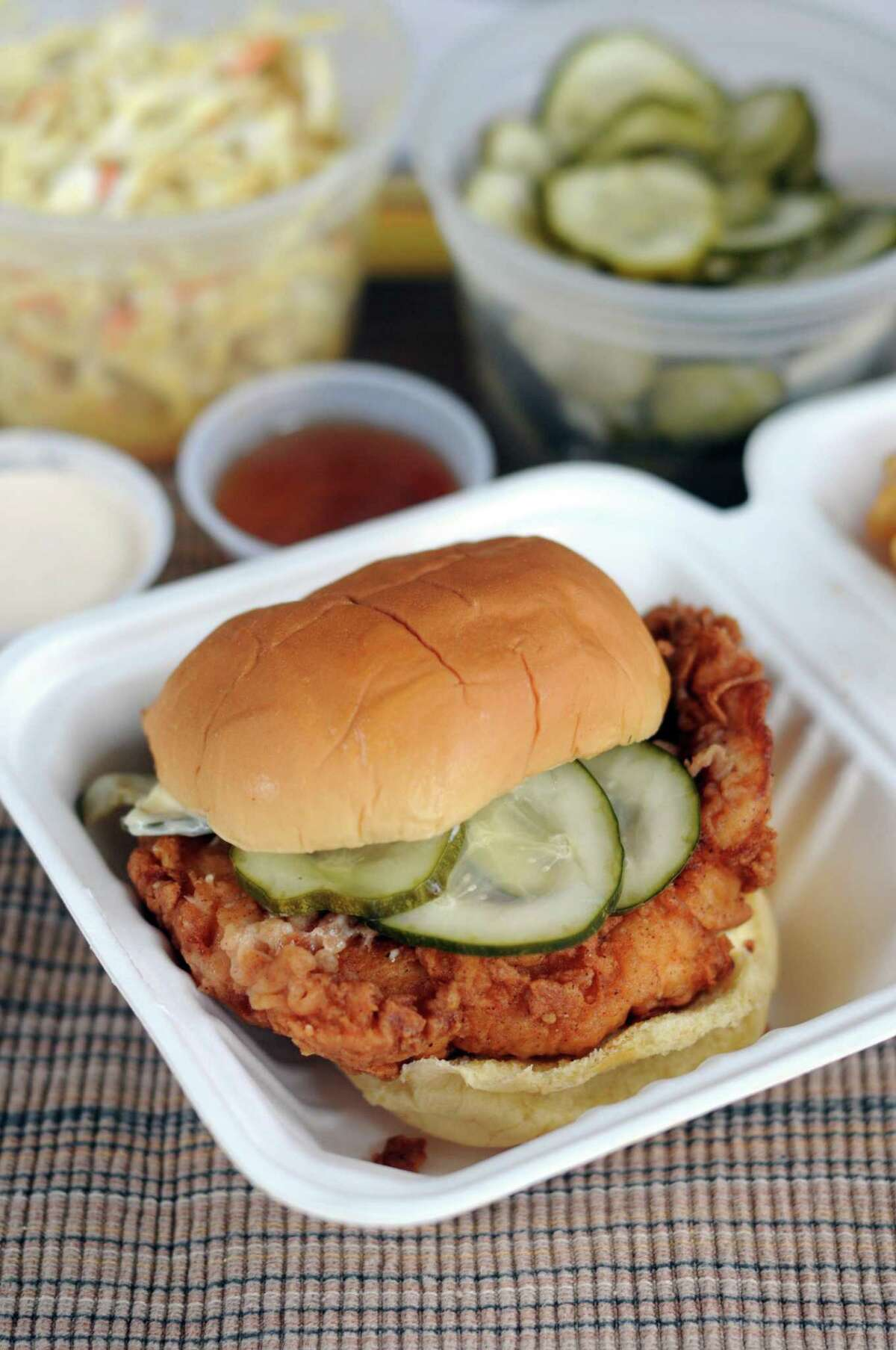 The regular fried chicken sandwich from Motel Fried Chicken is far less painful than its spicy sibling.