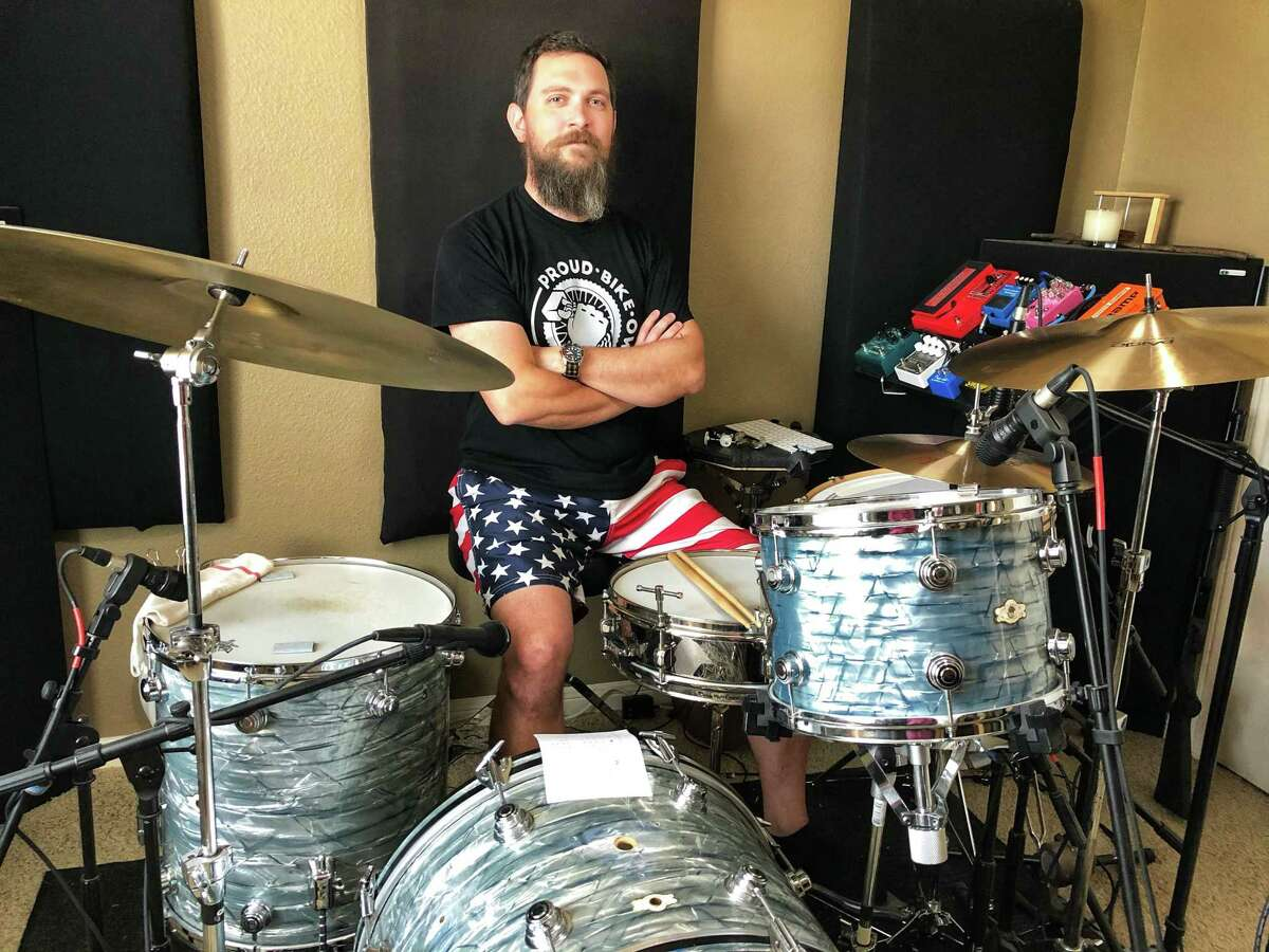The Texas Country Music Association's 2020 Drummer of the Year Nate Coon in his home studio in Willis. A session musician Coon is also the drummer for Aaron Watson's band.