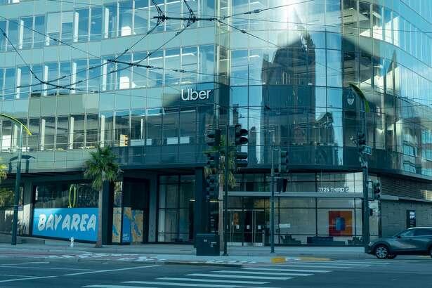 Uber's headquarters in Mission Bay, San Francisco, California, November 19, 2020.