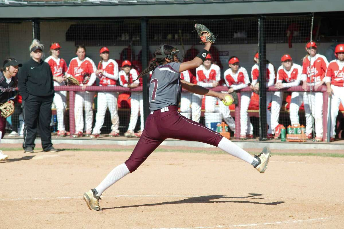 Pearland's Abigail Gutierrez, pitching against Katy last year, should be one of the top pitchers in the Greater Houston area this season.